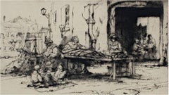 """Les Matelassiers (The Mattress Makers),"" original etching by Auguste Brouet"
