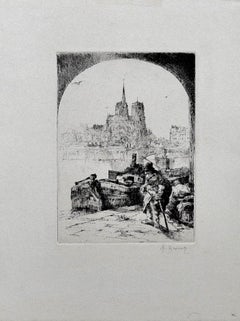 Paris - Original Etching by Auguste Brouet - Early 20th Century