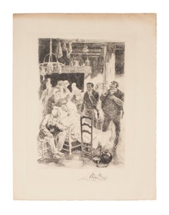 Passing - Original Etching by Auguste Brouet - Early 20th Century