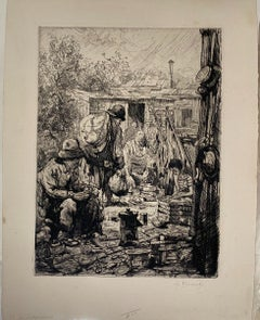 Poors - Original Etching by Auguste Brouet - Early 20th Century