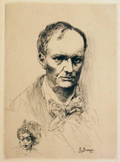 Portrait de Baudelaire (Portrait of Charles Baudelaire) - Etching - Early 1900
