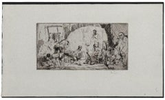The Acrobats - Original Etching by Auguste Brouet - 1930's