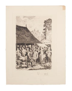 The Market - Original Etching by Auguste Brouet - Early 20th Century