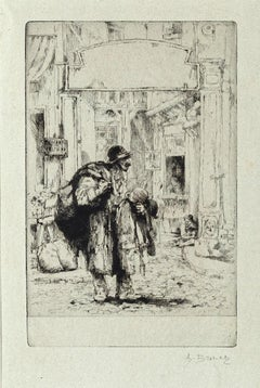 Wanderer - Original Etching by Auguste Brouet - Early 20th Century