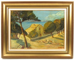 French Mediterranean Seascape Oil on Wood-Board Painting by Auguste Chabaud