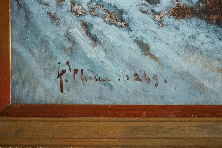Auguste Chenu Oil on Canvas Snow Landscape, circa 1869 For Sale 4