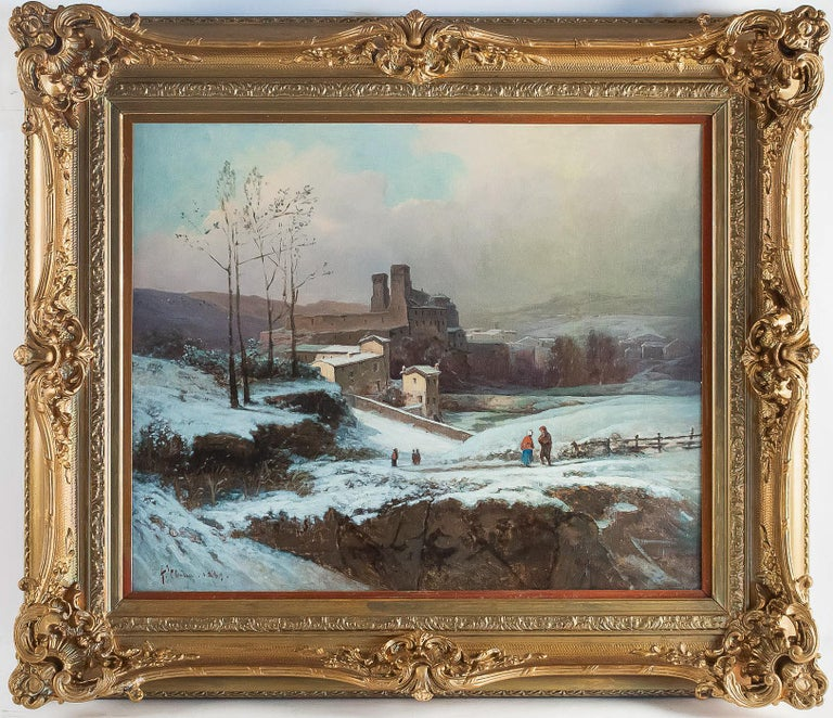 Auguste Chenu, oil on canvas Snow Landscape, circa 1869  A beautiful and decorative oil on canvas depicting a snow landscape with characters undoubtedly close to the city of Lyon. Our painting sign and dated on the lower left by Auguste Chenu, a