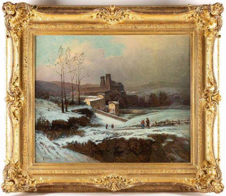 Auguste Chenu, oil on canvas snow landscape, circa 1869  Beautiful and decorative oil on canvas depicting a snow landscape with characters undoubtedly close to the city of Lyon. Our painting sign and dated on the lower left by Auguste Chenu, a