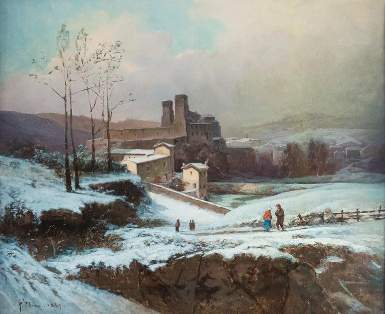 French Auguste Chenu, Oil on Canvas Snow Landscape, circa 1869 For Sale
