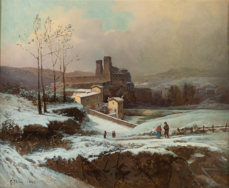 French Auguste Chenu Oil on Canvas Snow Landscape, circa 1869 For Sale