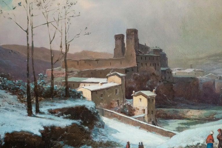 Oiled Auguste Chenu Oil on Canvas Snow Landscape, circa 1869 For Sale