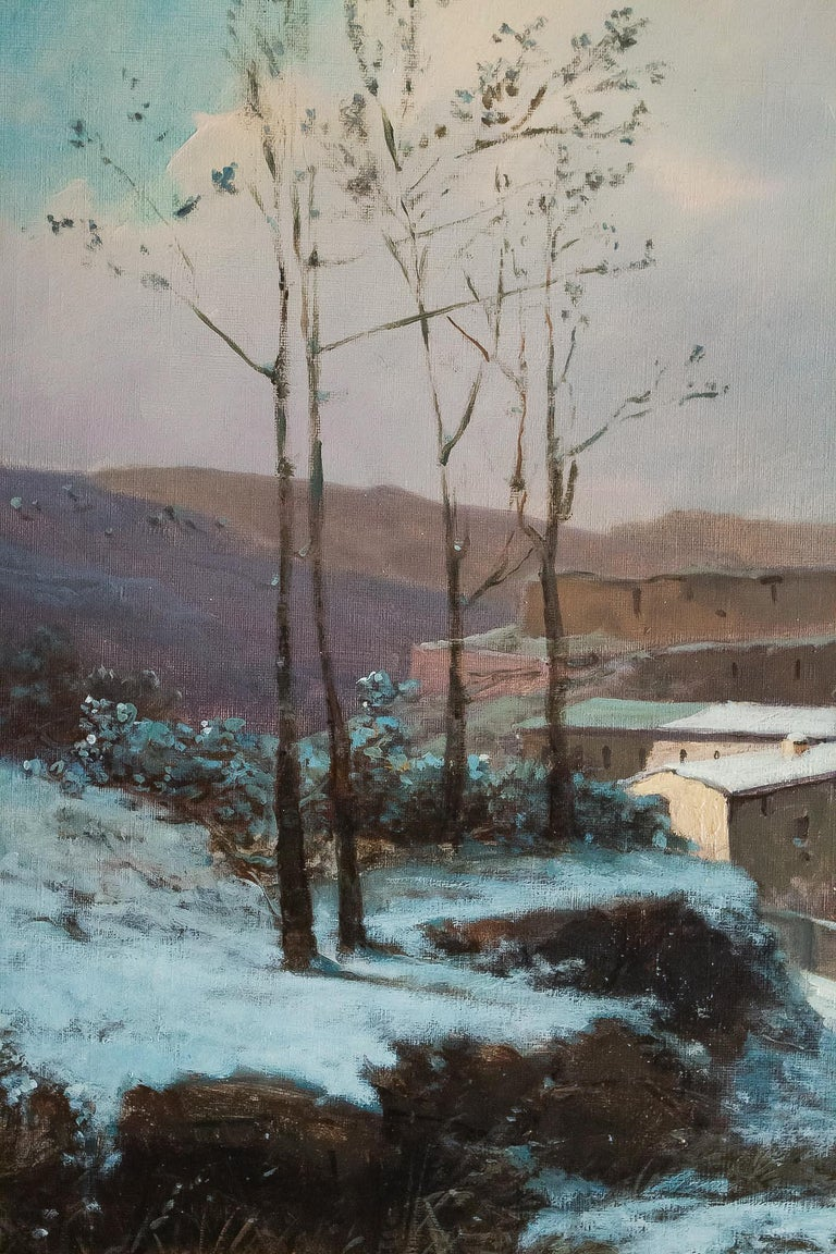 Auguste Chenu Oil on Canvas Snow Landscape, circa 1869 In Good Condition For Sale In Saint Ouen, FR