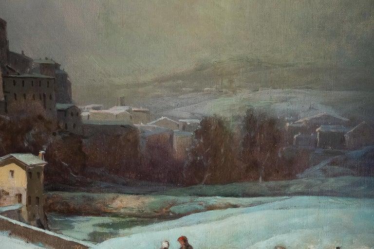 Auguste Chenu, Oil on Canvas Snow Landscape, circa 1869 For Sale 1