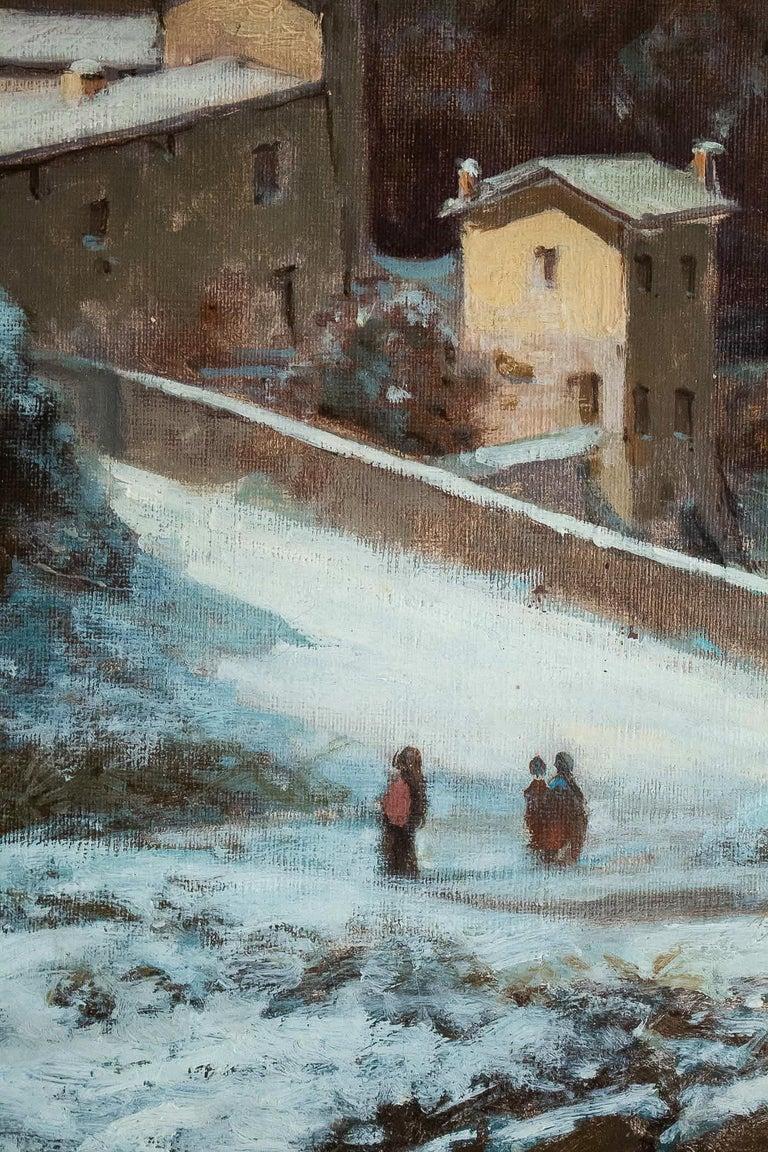 Auguste Chenu, Oil on Canvas Snow Landscape, circa 1869 For Sale 2
