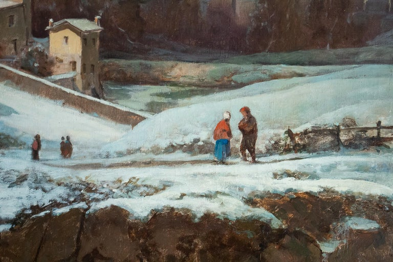 Auguste Chenu Oil on Canvas Snow Landscape, circa 1869 For Sale 2