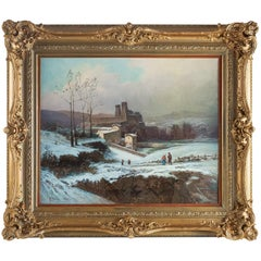 Auguste Chenu, Oil on Canvas Snow Landscape, circa 1869