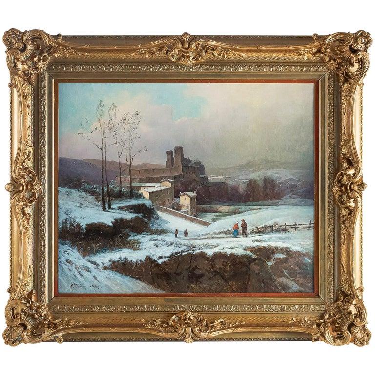 Auguste Chenu, Oil on Canvas Snow Landscape, circa 1869 For Sale