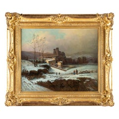 Auguste Chenu Oil on Canvas Snow Landscape, circa 1869