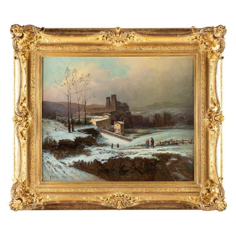 Auguste Chenu Oil on Canvas Snow Landscape, circa 1869 For Sale