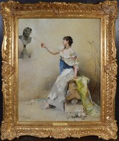 Une Fille de la Nymphe - 19th Century French Portrait Oil Painting Young Beauty