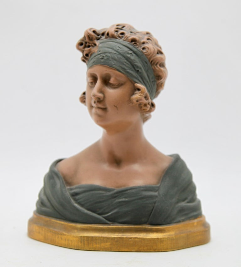 Auguste Henri Carli (1868-1930)-bust in terracotta, France, Belgium, early 20th century  Signed A. Carli. Auguste Carli is a French sculpture, whose work along with that of his brother was represented in Brussels. This bust is in Belgium in a