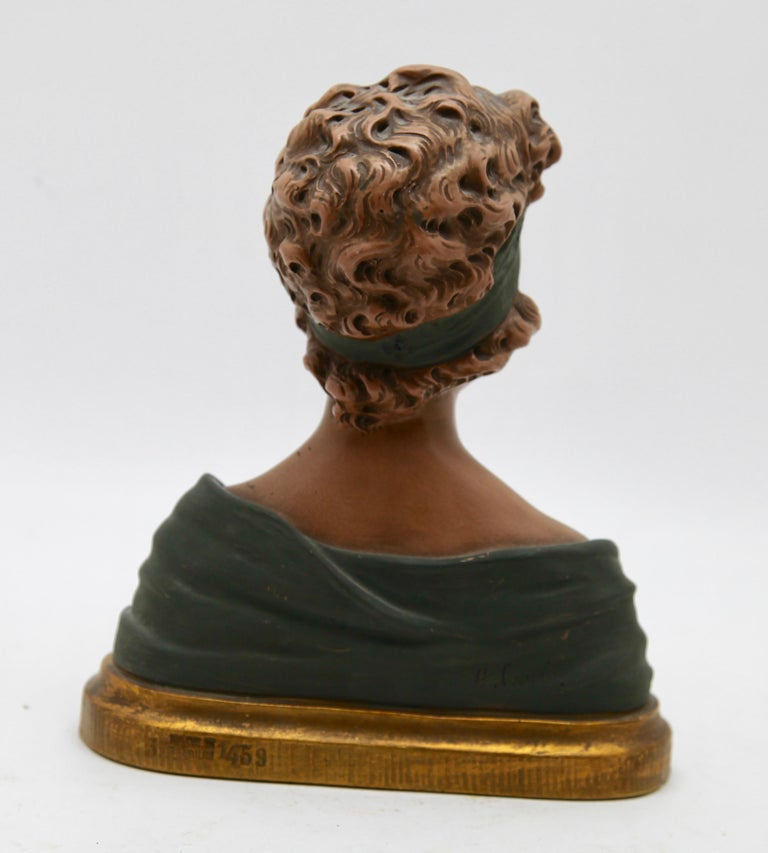 Auguste Henri Carli Bust in Terracotta, France, Belgium, Early 20th Century For Sale 2