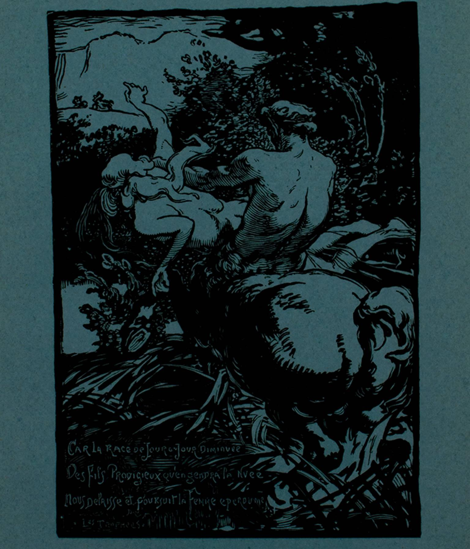 """""""Car La Race, Became the Race...,"""" Woodcut on Blue Paper by Louis Lepere"""