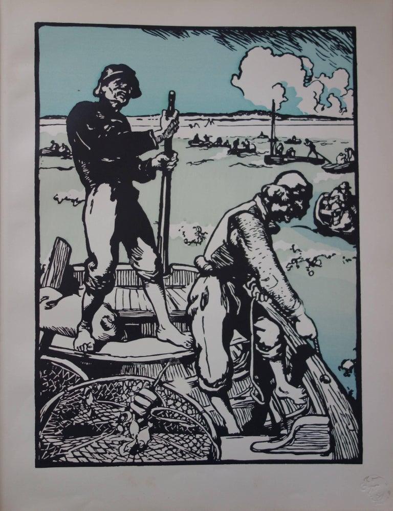 Auguste Louis Lepère Figurative Print - Fishermen - Original lithograph (1897/98)