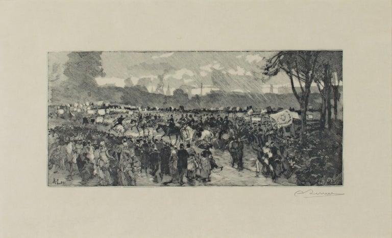 'Hyde Park' original woodcut engraving signed by Auguste Louis Lepère For Sale 1