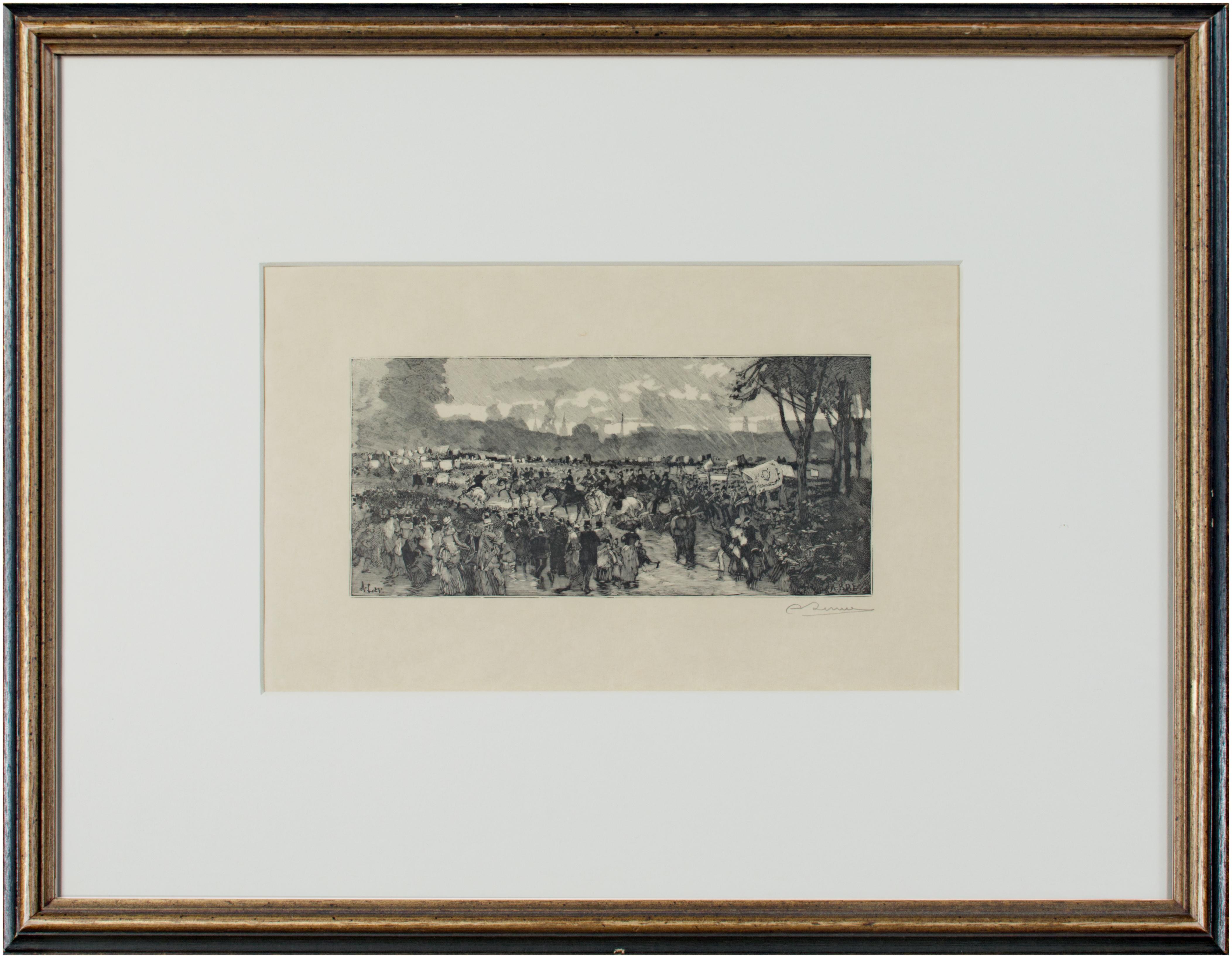 'Hyde Park' original woodcut engraving signed by Auguste Louis Lepère