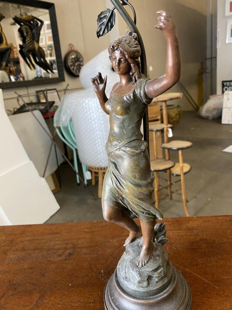Auguste Moreau Signed Bronze-Plated Spelter Female Art Nouveau Figural Lamp For Sale 5