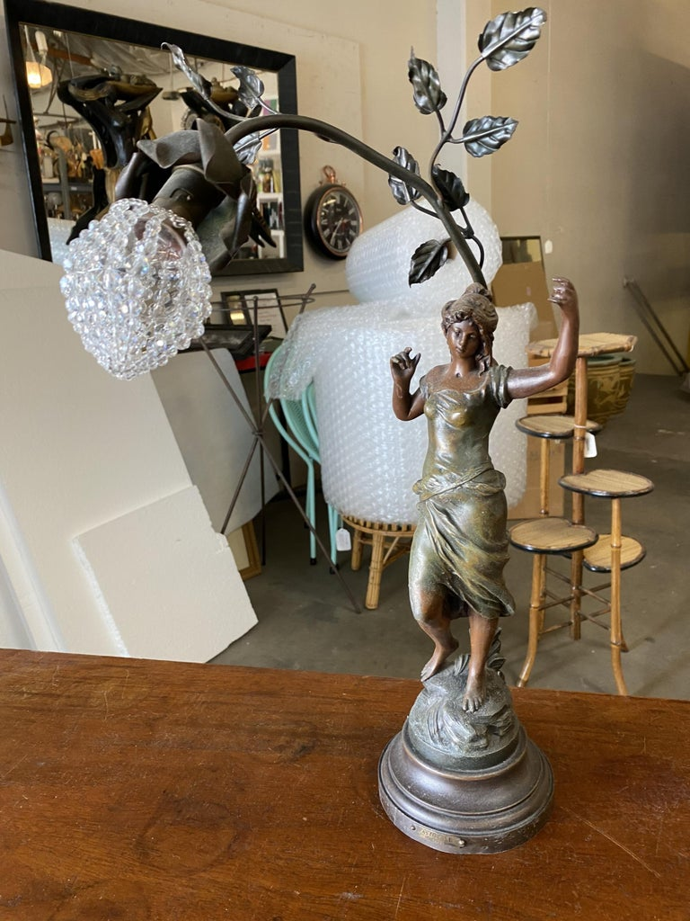 American Auguste Moreau Signed Bronze-Plated Spelter Female Art Nouveau Figural Lamp For Sale