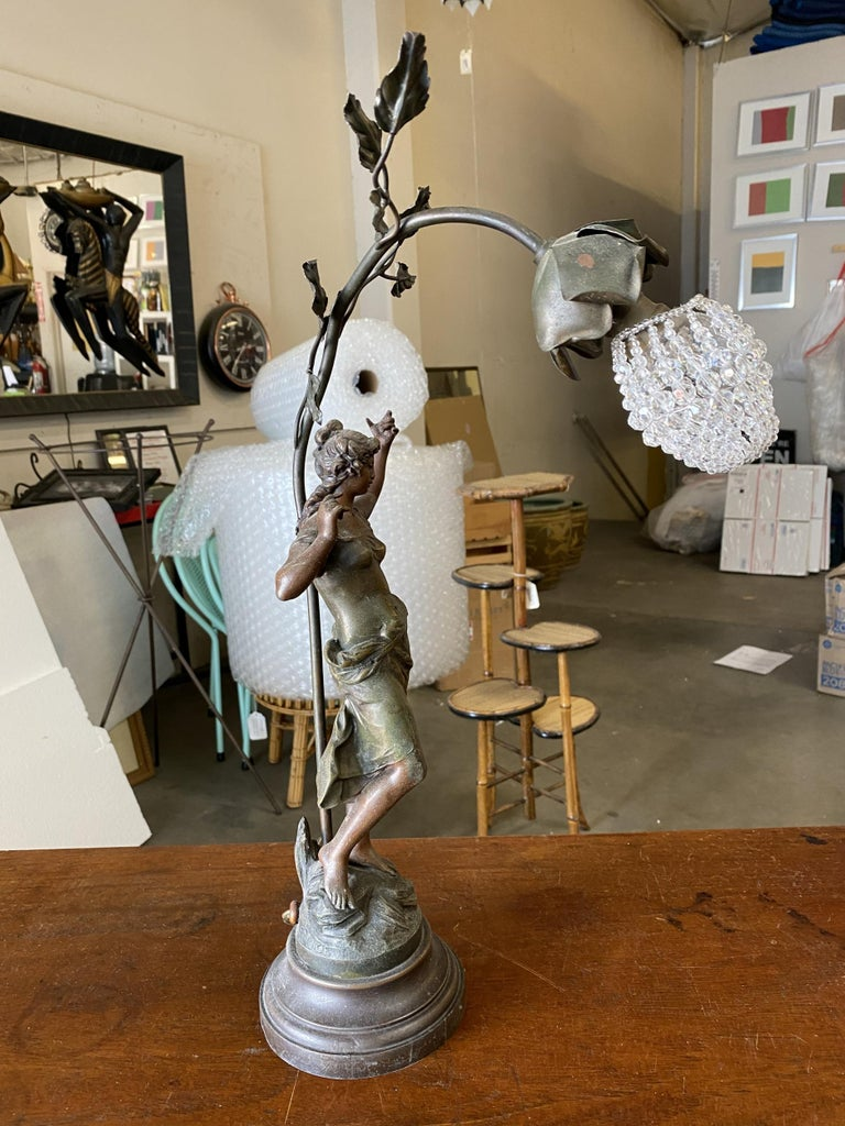 Early 20th Century Auguste Moreau Signed Bronze-Plated Spelter Female Art Nouveau Figural Lamp For Sale
