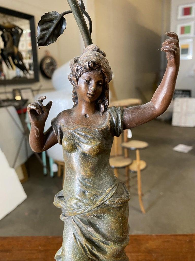Auguste Moreau Signed Bronze-Plated Spelter Female Art Nouveau Figural Lamp For Sale 4