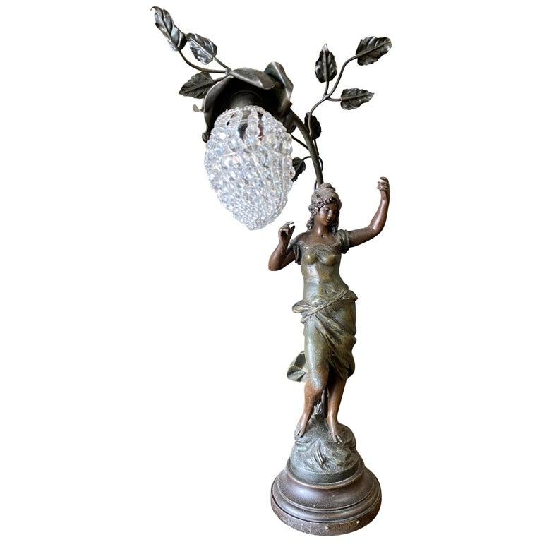 Auguste Moreau Signed Bronze-Plated Spelter Female Art Nouveau Figural Lamp For Sale