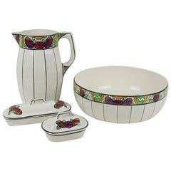 Auguste Mouzin Art Deco Ceramic Toiletry Dresser Bowl, Pitcher and Boxes Set