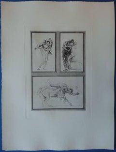 Three mythological studies - Plate signed etching (1897)