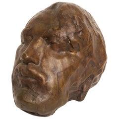 Auguste Rodin Style Cast Bronze Head Sculpture