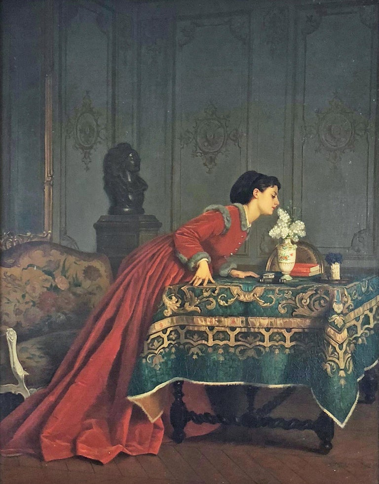 A Pleasant Scent - Painting by Auguste Toulmouche