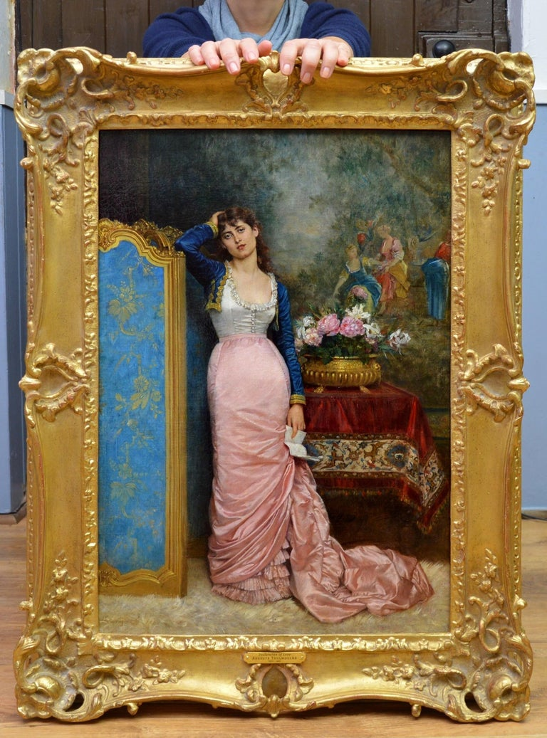 This is a fine 19th century oil on canvas depicting an elegant Parisienne beauty in an opulent salon interior contemplating the contents of a love letter by the celebrated French painter Auguste Toulmouche 1829-1890. 'Declaration of Love' is signed