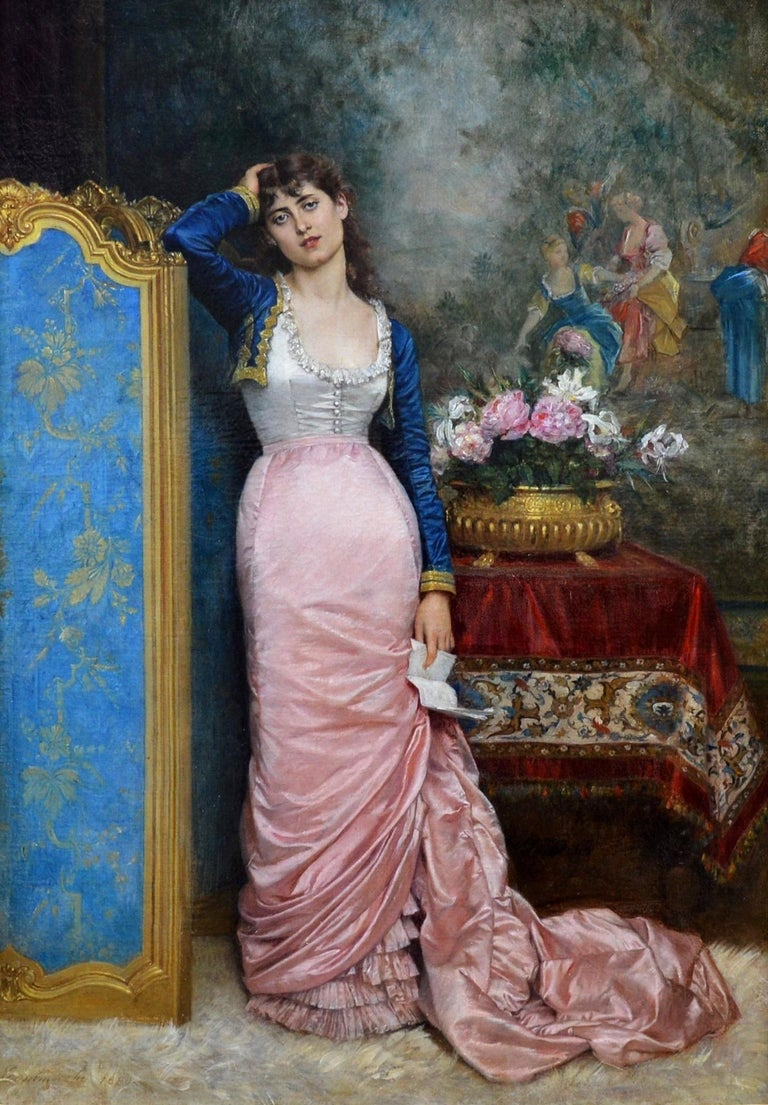 Declaration of Love - 19th Century French Belle Epoque Portrait Oil Painting For Sale 1