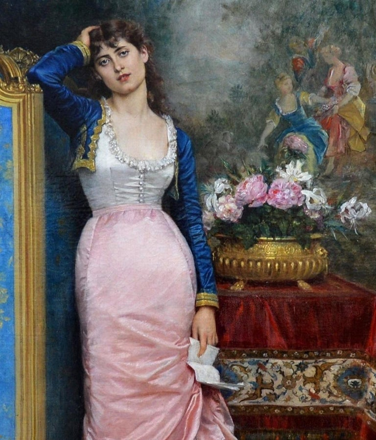 Declaration of Love - 19th Century French Belle Epoque Portrait Oil Painting For Sale 2