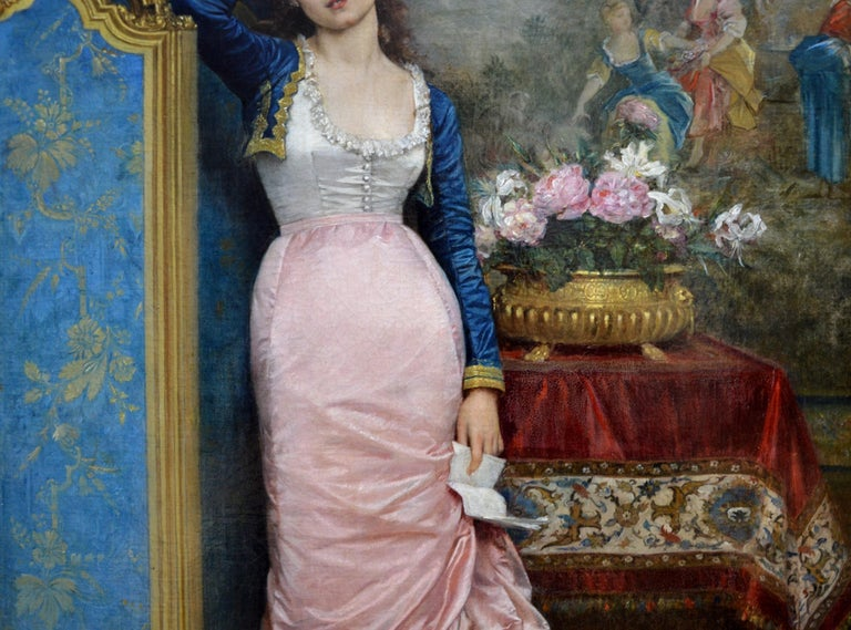 Declaration of Love - 19th Century French Belle Epoque Portrait Oil Painting For Sale 3