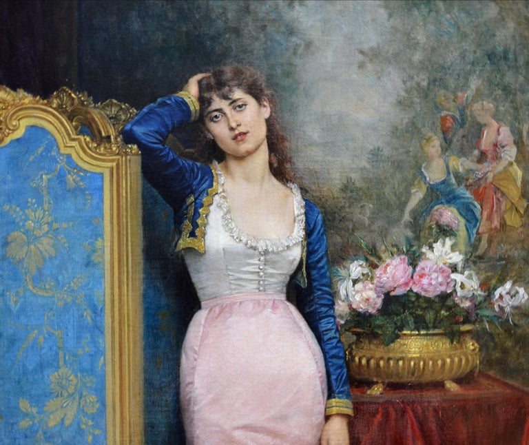 Declaration of Love - 19th Century French Belle Epoque Portrait Oil Painting For Sale 5