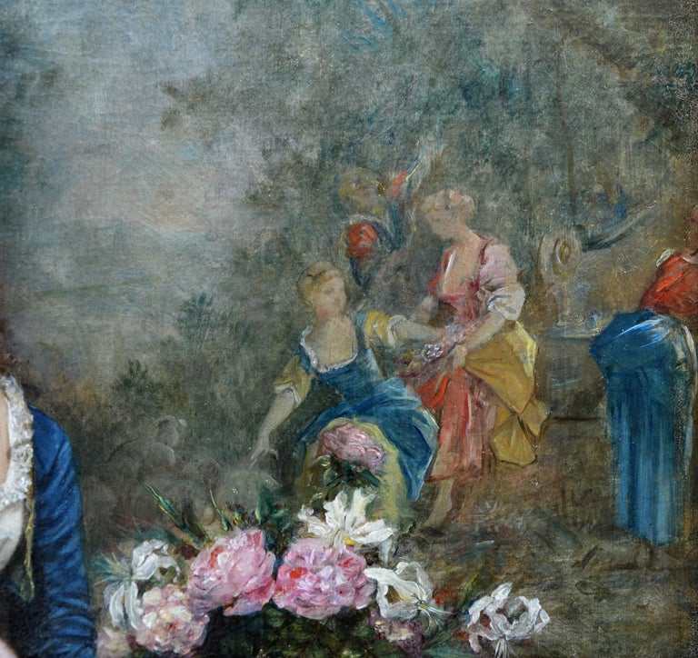 Declaration of Love - 19th Century French Belle Epoque Portrait Oil Painting For Sale 6