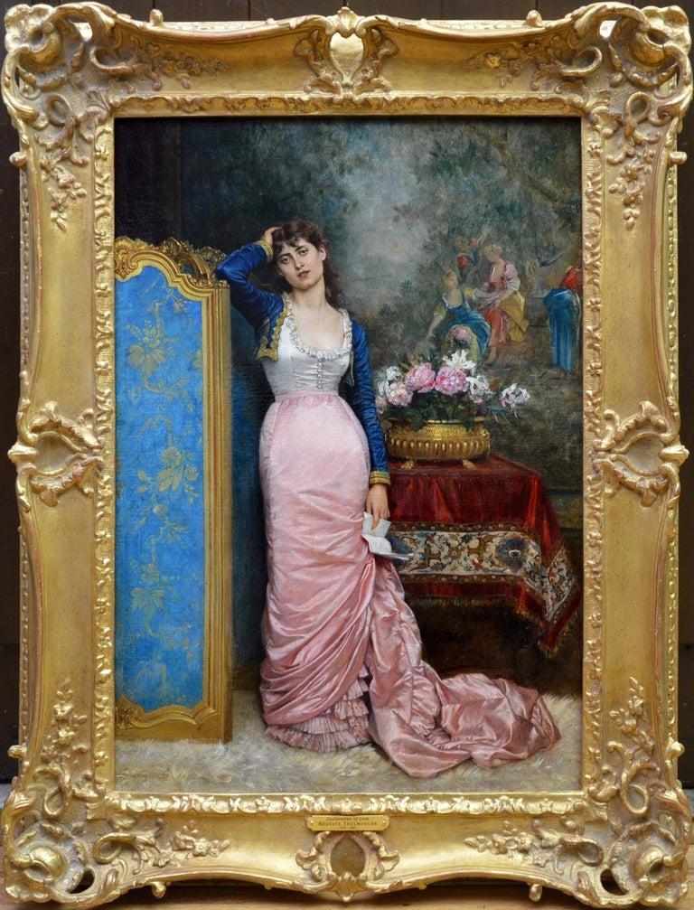 Auguste Toulmouche Figurative Painting - Declaration of Love - 19th Century French Belle Epoque Portrait Oil Painting