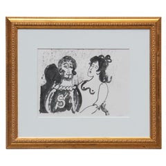 Black Ink Wash Expressionist Couple Portrait