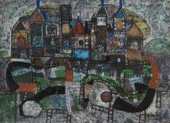 'Parade of the Bulls',  Spanish Surrealist oil, Museum Deaccession, Benezit