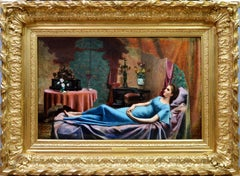 Young Parisian Beauty in a Blue Dress - 19th Century French Oil Painting - 1882