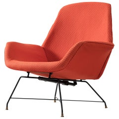 Augusto Bozzi Adjustable Lounge Chair in Red Upholstery